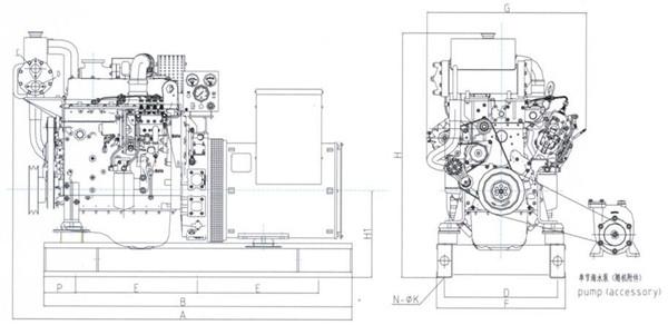 上柴50~150KW船用机组工作原理图